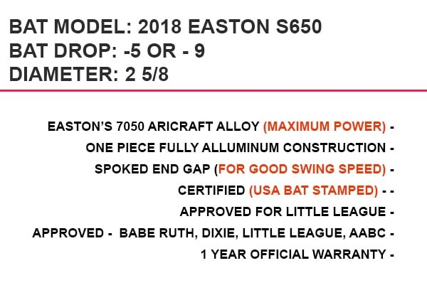 2018 Easton S650 Youth Baseball Bat Reviews